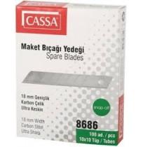 Cassa 8686 Geniş Maket Bıçağı Yedeği 18mm 1x10'lu Tüp