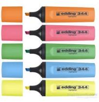 Edding 344 Fosforlu Kalem 5 Farklı Renk, Sarı - Kırmızı - Mavi - Turuncu - Yeşil