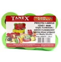 Tanex 12x21 mm Yeşil Floresan Fiyat Etiketi 12rulo x 800 Etiket