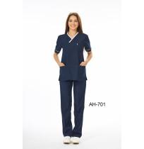 V Yaka Biyeli Baş Hemşire Forması - Ürün Kodu : AH-701-X