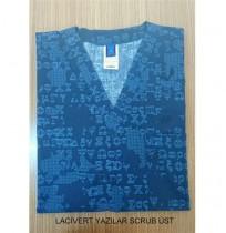 Lacivert Yazılar Scrub Üst - Ürün Kodu : UT-850-LY